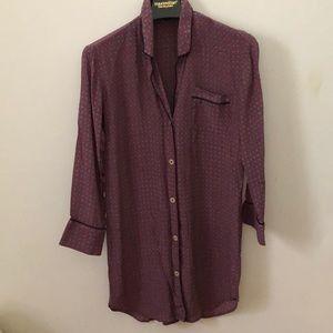 J.Crew 100% Silk Pajama Shirt XS